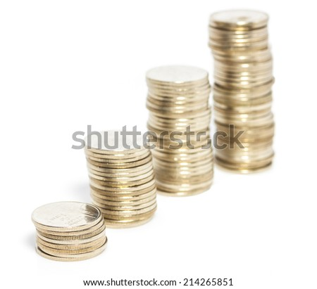 Stacks of Thai coins, rising trend isolated on white