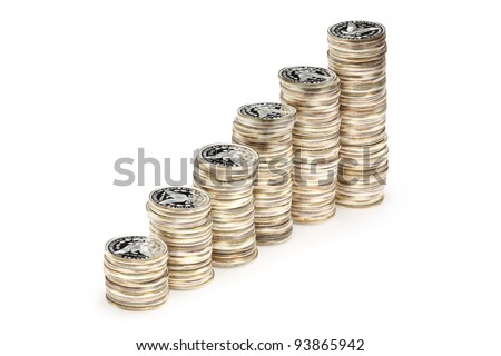 Stacks of the one ounce fine silver coins - stock photo