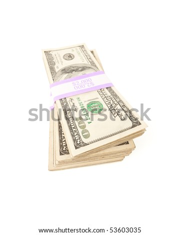 Stacks of Two Thousand Dollar Piles of One Hundred Dollar Bills Isolated on a White Background. - stock photo