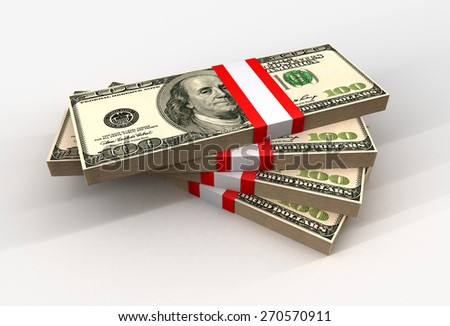 Stacks of 100 US Dollar Banknotes - stock photo