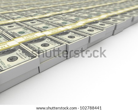 Stacks of us dollar bills - stock photo