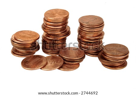 stacks of US pennies - stock photo
