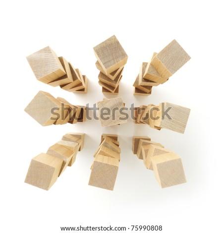 Stacks of wooden blocks - stock photo