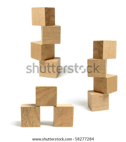 Stacks of Wooden Blocks on White Background - stock photo