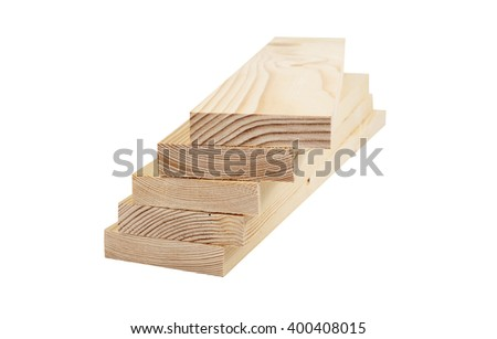 Stacks of wooden planks isolated on white background closeup - stock photo