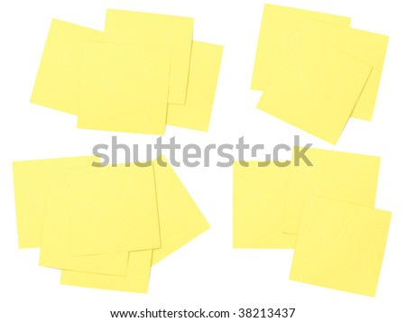 Stacks of yellow sticky notes - stock photo