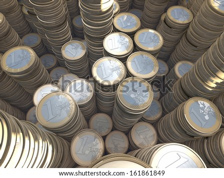 Stacks, piles, towers of euro coins, dimensional, wide-angle, 3d rendering - stock photo