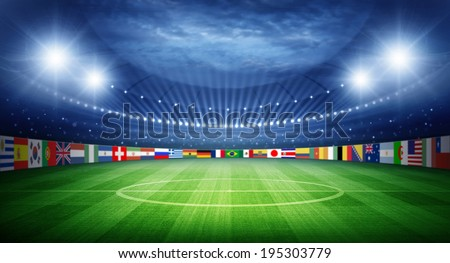 Stadium and nations teams flags - stock photo