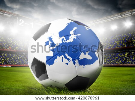 stadium and soccer or football ball with map of Europe. Continent shape is altered one from visibleearth.nasa.gov - stock photo