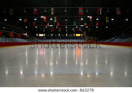 Stadium before the championschip - purple fringing on lights - stock photo