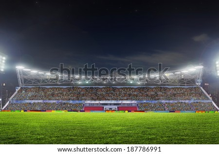 stadium before the match. Night, illuminated - stock photo