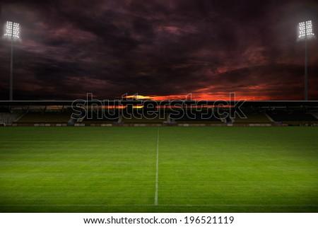 Stadium before the match. Night, illuminated. - stock photo