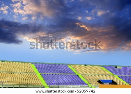 stadium colorful stands perspective blue sky [Photo Illustration]