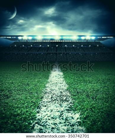 stadium field - stock photo