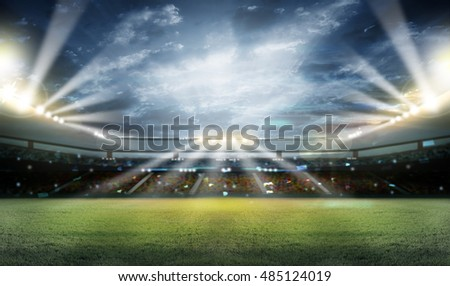 stadium in lights and flashes 3d