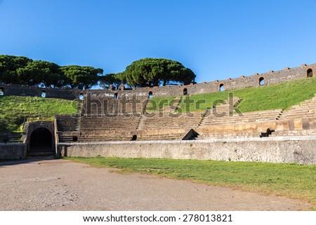 Stadium in Pompeii city  destroyed  in 79BC by the eruption of Mount Vesuvius - stock photo