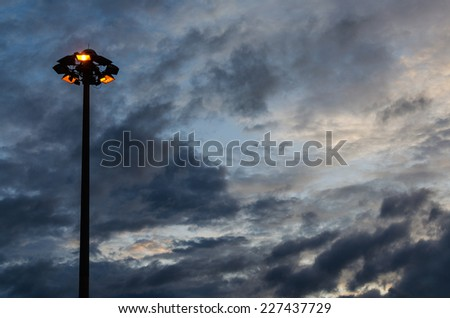 Stadium lamp post - stock photo