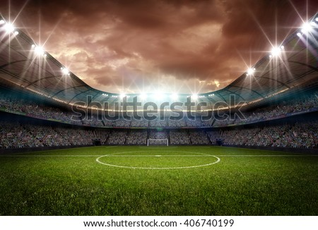 stadium light and night - stock photo