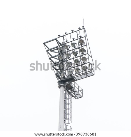 Stadium light ,Big spotlights lighting tower at an sport arena stadium  - stock photo