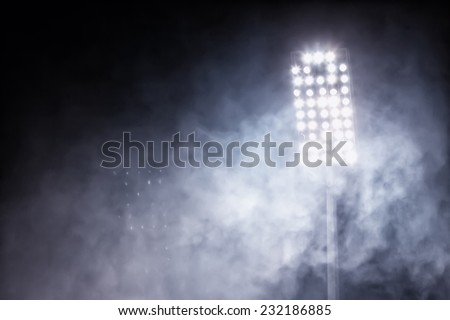 stadium lights and smoke - stock photo