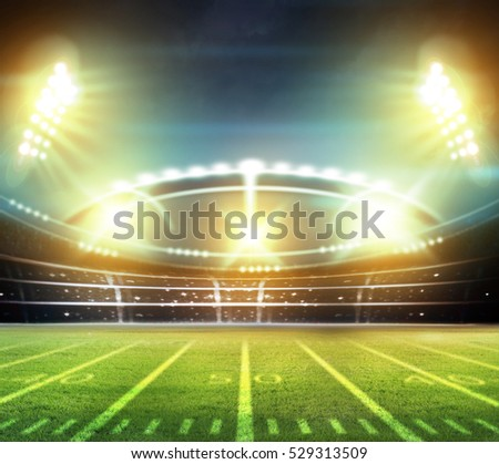 stadium lights at night and stadium 3d