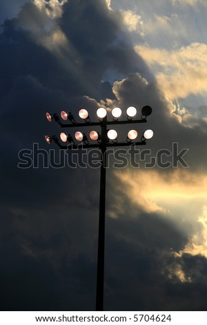 Stadium Lights in a local High School Football Field - stock photo