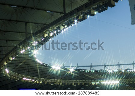 Stadium roof against - stock photo