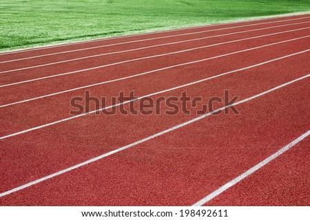 Stadium rubber running tracks - stock photo
