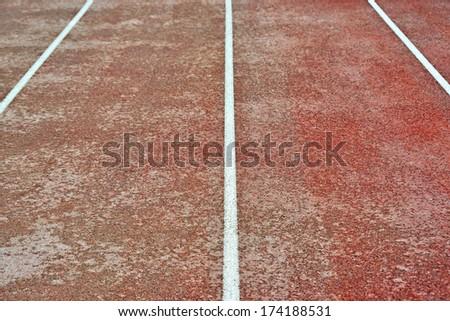Stadium running way closeup - stock photo