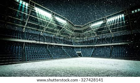 Stadium snowfall - stock photo