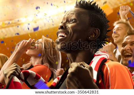 stadium soccer fans emotions portrait - stock photo