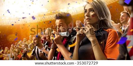 stadium soccer fans emotions portrait - stock photo
