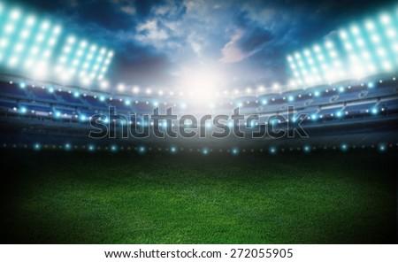 Stadium, soccer, field. - stock photo