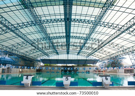 stadium, swimming pool as the next track, swimming. - stock photo
