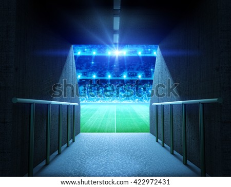 stadium tunnel - stock photo