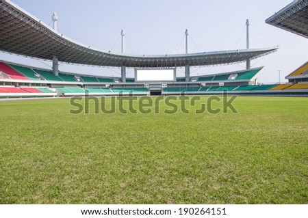 Stadium turf seat - stock photo
