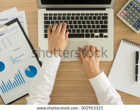 staff analyzing data for marketing strategy. top view. working concept. - stock photo