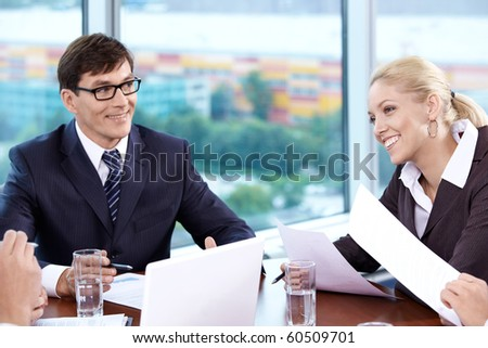 Staff members at the meeting in the office - stock photo