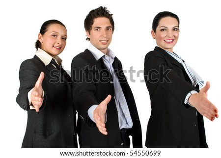 Staff of three business people teamwork standing with hands stretched offering  handshake - stock photo