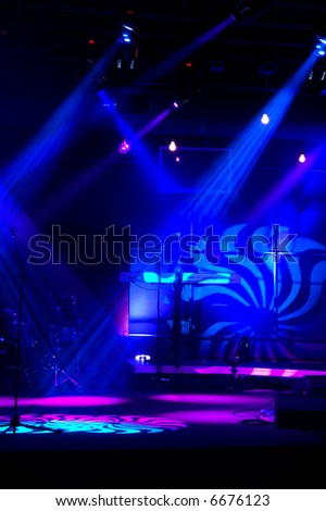 Stage blue lights Lights and patterns with musical instruments - stock photo