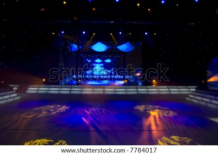 Stage blue lights - prepared for production and shooting - stock photo