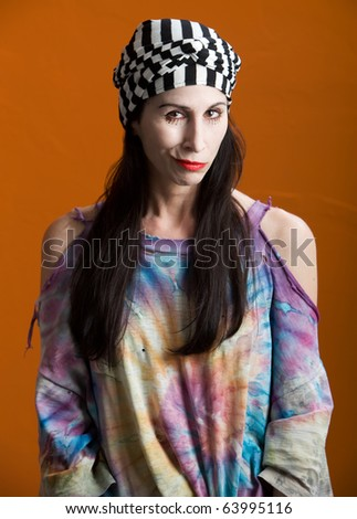Stage Character Actress or Mime in Tattered Shirt - stock photo