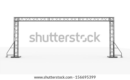 Stage construction rendered isolated on white background - stock photo
