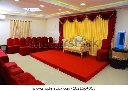 stage decorations with interior design themes also Fabric Sofa Over Red Carpet at Empty Auditorium.