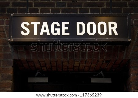 Stage door (room for text) - stock photo