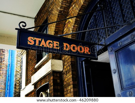 Stage door sign - stock photo