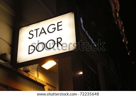 Stage door sign - stock photo