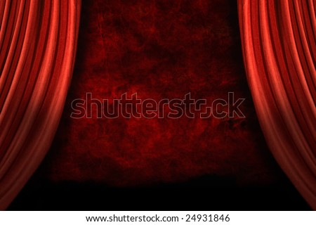 Stage Drapes With Grunge Background and Dramatic Lighting - stock photo
