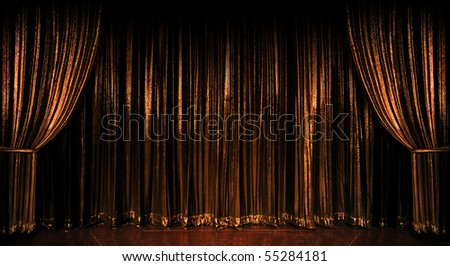 Stage golden curtains over wooden floor - stock photo