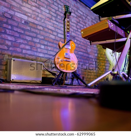 stage in a music club (color toned image) - stock photo